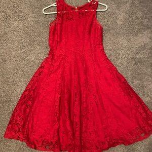 Red Lace Semi-Formal Dress